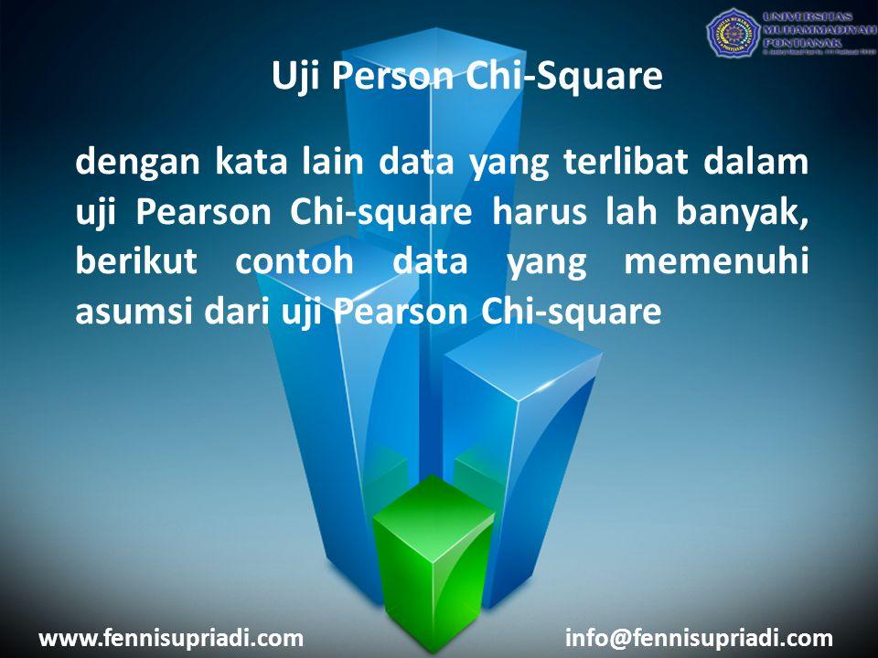 www.fennisupriadi.cominfo@fennisupriadi.com Uji Person Chi-Square dengan kata lain data yang terlibat dalam uji Pearson Chi-square harus lah banyak, berikut contoh data yang memenuhi asumsi dari uji Pearson Chi-square