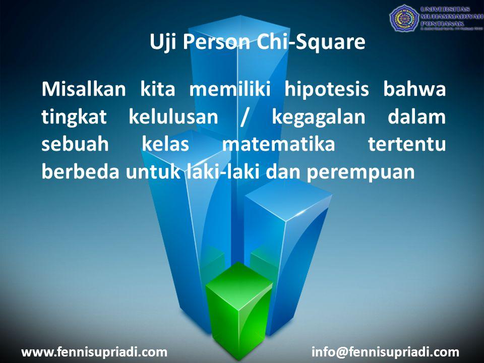 www.fennisupriadi.cominfo@fennisupriadi.com Uji Person Chi-Square Misalkan kita memiliki hipotesis bahwa tingkat kelulusan / kegagalan dalam sebuah kelas matematika tertentu berbeda untuk laki-laki dan perempuan