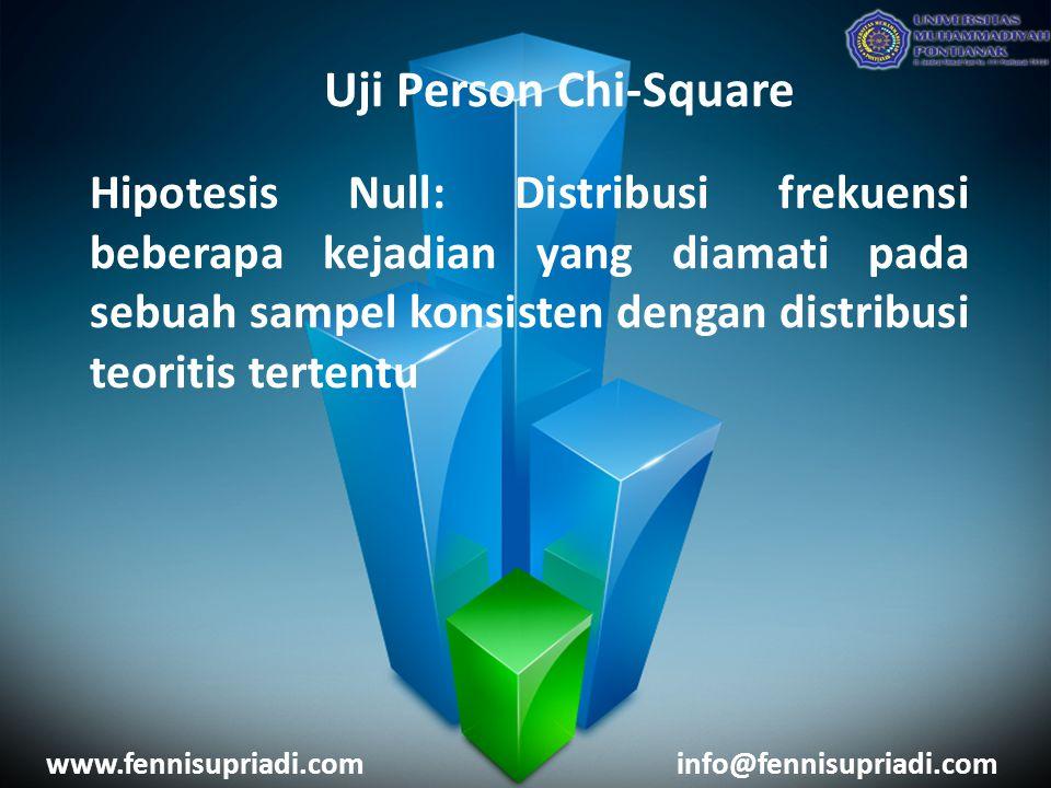 www.fennisupriadi.cominfo@fennisupriadi.com Uji Person Chi-Square Hipotesis Null: Distribusi frekuensi beberapa kejadian yang diamati pada sebuah sampel konsisten dengan distribusi teoritis tertentu