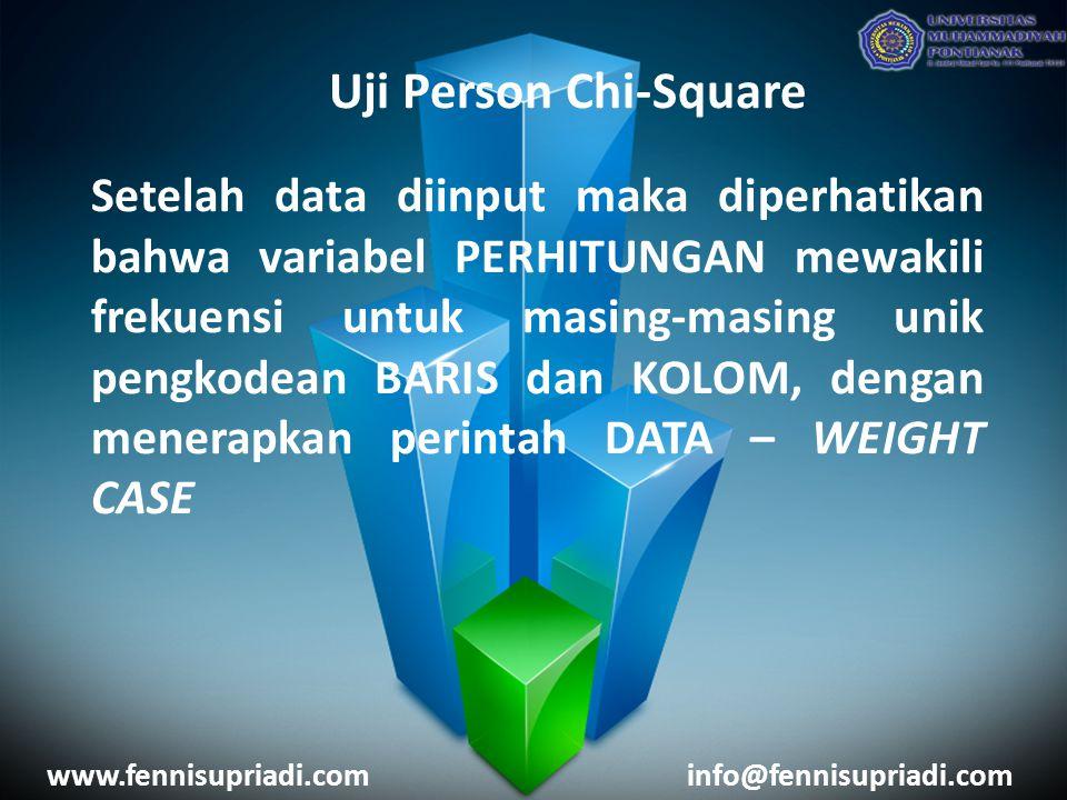 www.fennisupriadi.cominfo@fennisupriadi.com Uji Person Chi-Square Setelah data diinput maka diperhatikan bahwa variabel PERHITUNGAN mewakili frekuensi untuk masing-masing unik pengkodean BARIS dan KOLOM, dengan menerapkan perintah DATA – WEIGHT CASE