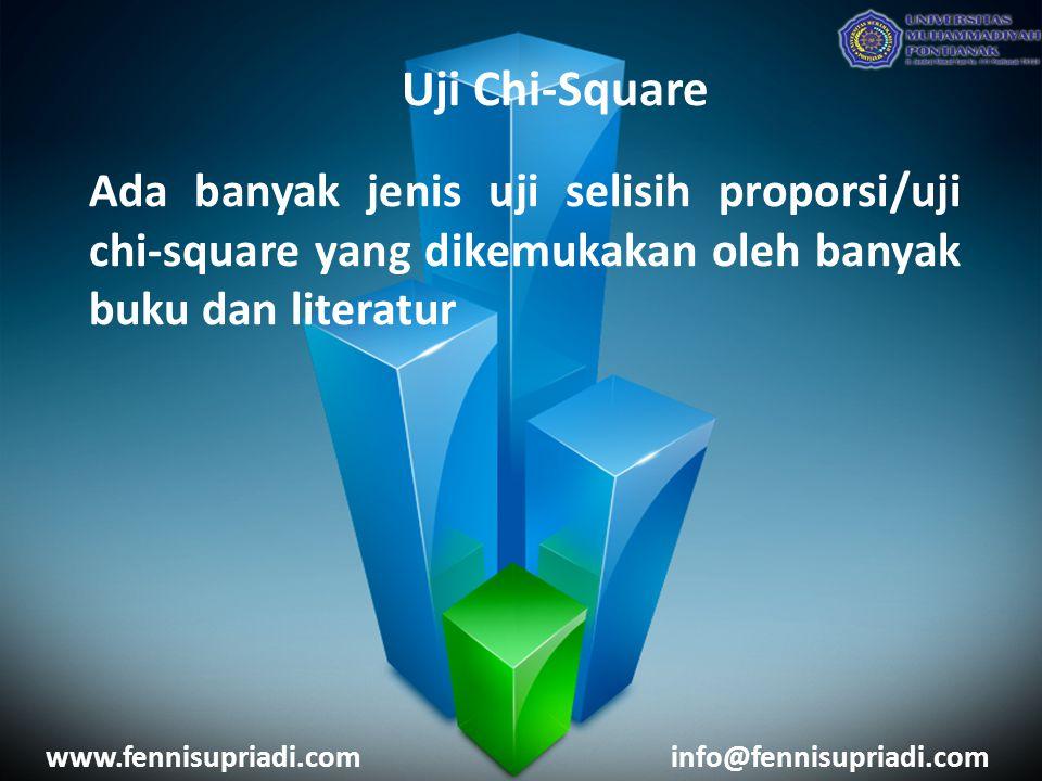 www.fennisupriadi.cominfo@fennisupriadi.com Uji Chi-Square Ada banyak jenis uji selisih proporsi/uji chi-square yang dikemukakan oleh banyak buku dan literatur