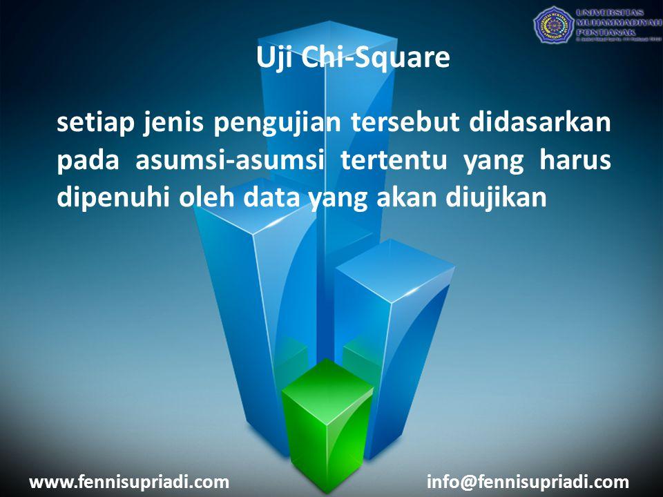 www.fennisupriadi.cominfo@fennisupriadi.com Uji Chi-Square setiap jenis pengujian tersebut didasarkan pada asumsi-asumsi tertentu yang harus dipenuhi oleh data yang akan diujikan