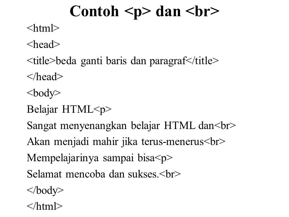 Contoh dan beda ganti baris dan paragraf Belajar HTML Sangat menyenangkan belajar HTML dan Akan menjadi mahir jika terus-menerus Mempelajarinya sampai