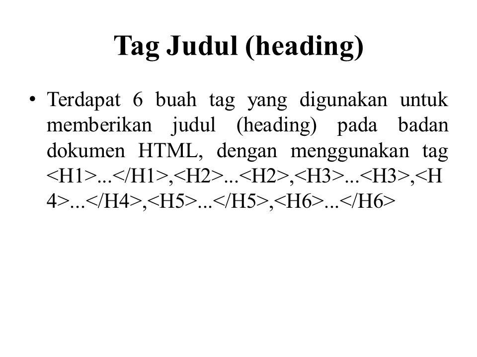 Tag Judul (heading) Terdapat 6 buah tag yang digunakan untuk memberikan judul (heading) pada badan dokumen HTML, dengan menggunakan tag...,...,...,...