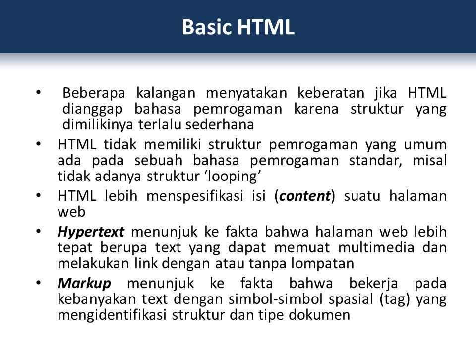 Beberapa kalangan menyatakan keberatan jika HTML dianggap bahasa pemrogaman karena struktur yang dimilikinya terlalu sederhana HTML tidak memiliki str