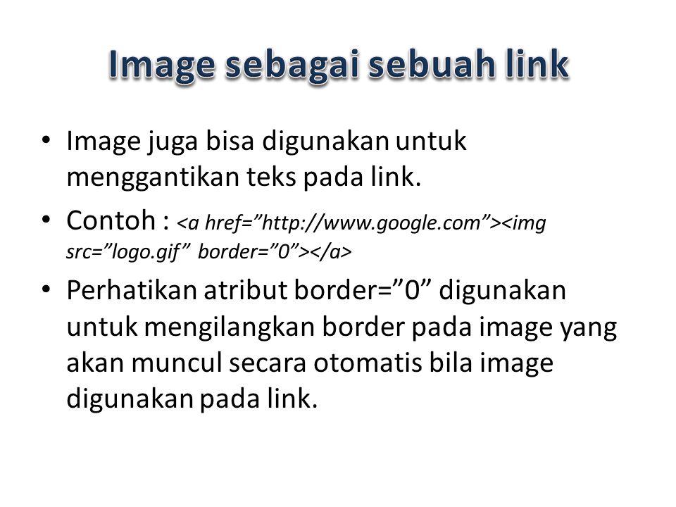Image juga bisa digunakan untuk menggantikan teks pada link.