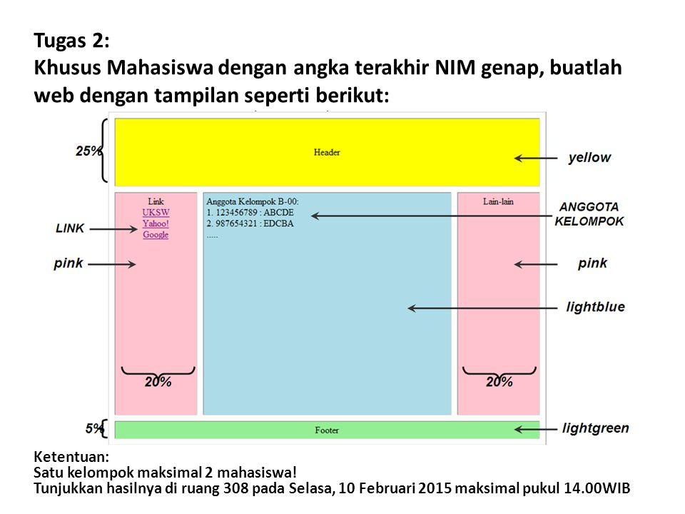 Tugas 2: Khusus Mahasiswa dengan angka terakhir NIM genap, buatlah web dengan tampilan seperti berikut: Ketentuan: Satu kelompok maksimal 2 mahasiswa.