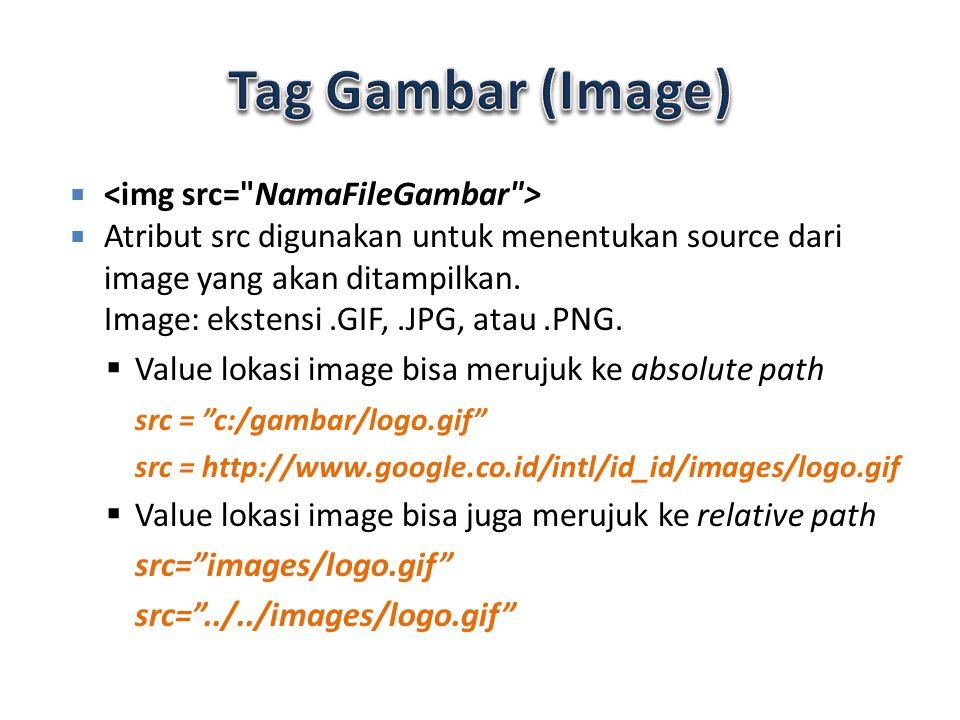 Atribut alt – Alt digunakan untuk mendefinisikan alternate text untuk sebuah image – Contoh : – Alt juga akan memberitahukan kepada pengunjung web bila gambar gambarnya tidak muncul.