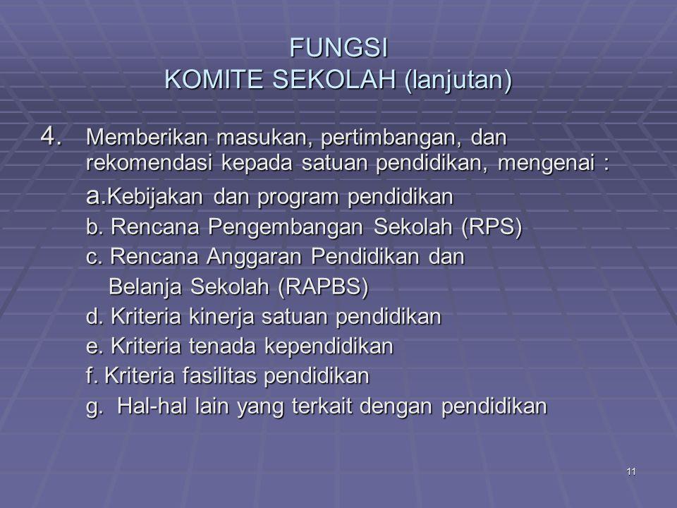 10 FUNGSI KOMITE SEKOLAH 1.