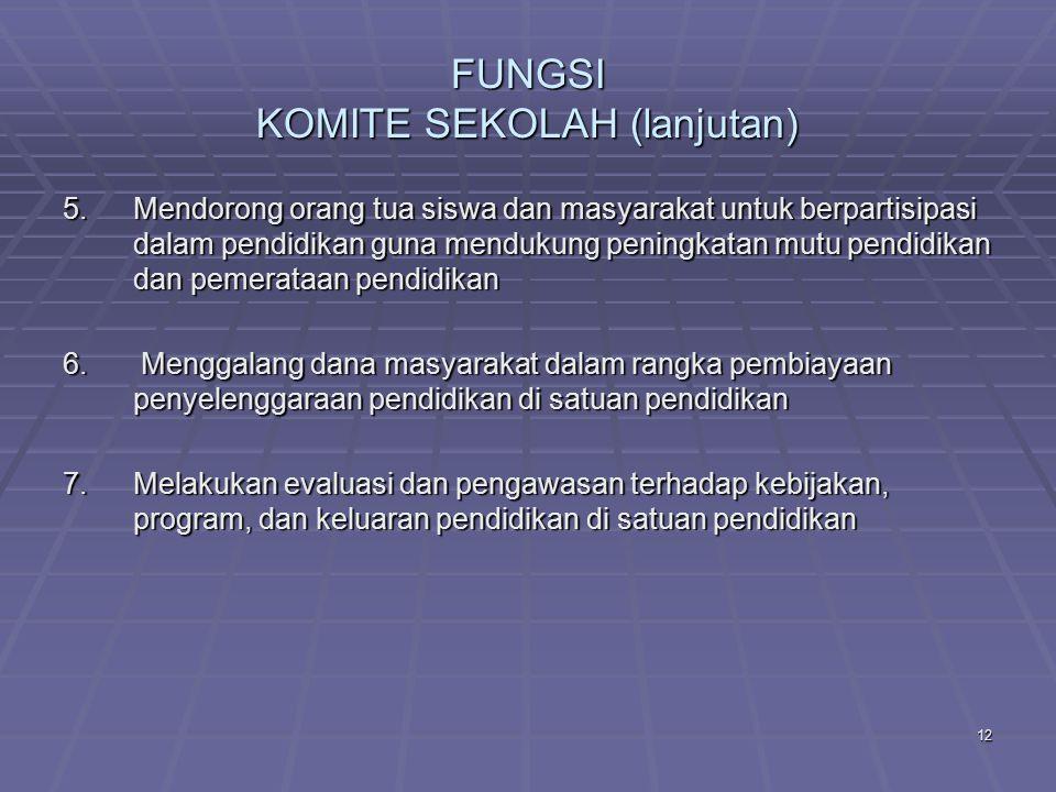 11 FUNGSI KOMITE SEKOLAH (lanjutan) 4.