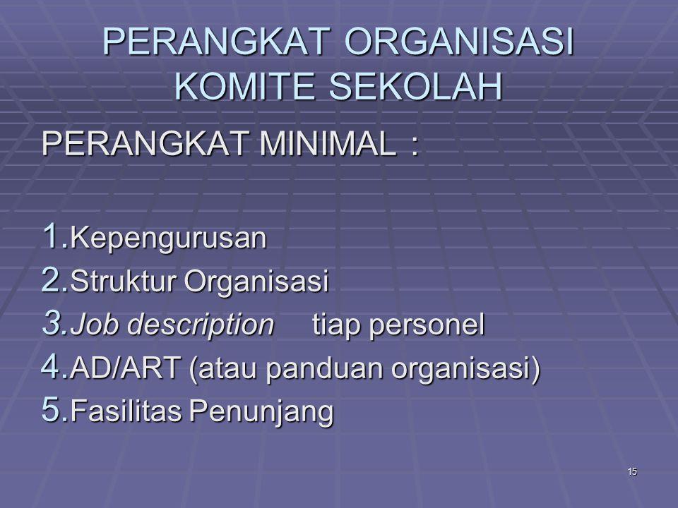 14 PERANGKAT ORGANISASI KOMITE SEKOLAH PENGERTIAN ORGANISASI - Ada berbagai definisi - Salah satu definisi berbunyi : ORGANISASI ADALAH KESATUAN (ENTITY) SOSIAL YANG DIKOORDINASIKAN SECARA SADAR, DENGAN SEBUAH BATASAN YANG RELATIF DAPAT DIIDENTIFIKASI, YANG BEKERJA ATAS DASAR KETERIKATAN YANG RELATIF TERUS MENERUS UNTUK MENCAPAI TUJUAN ATAU SEKELOMPOK TUJUAN  Definisi ini cocok jika diterpkan pada Komite Sekolah