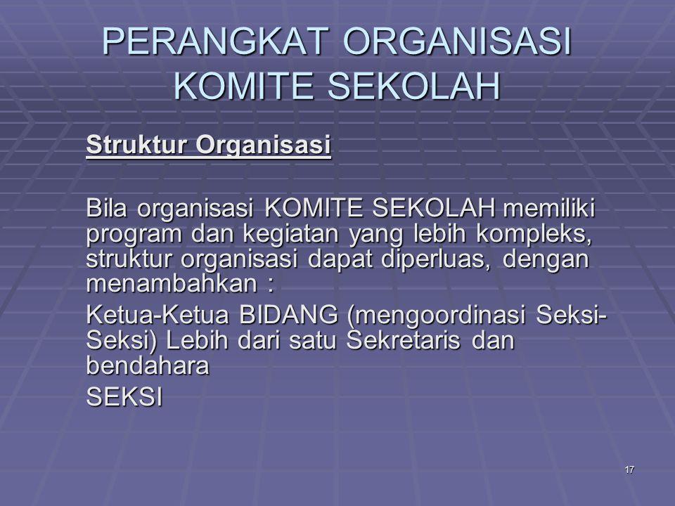 16 PERANGKAT ORGANISASI KOMITE SEKOLAH Kepengurusan Contoh Struktur Kepengurusan yang sederhana :  Ketua  Sekretaris  Bendahara  Anggota