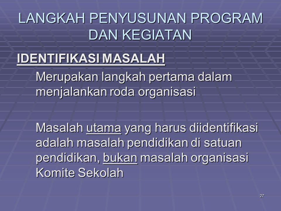 26 LANGKAH PENYUSUNAN PROGRAM DAN KEGIATAN 1.IDENTIFIKASI MASALAH 2.