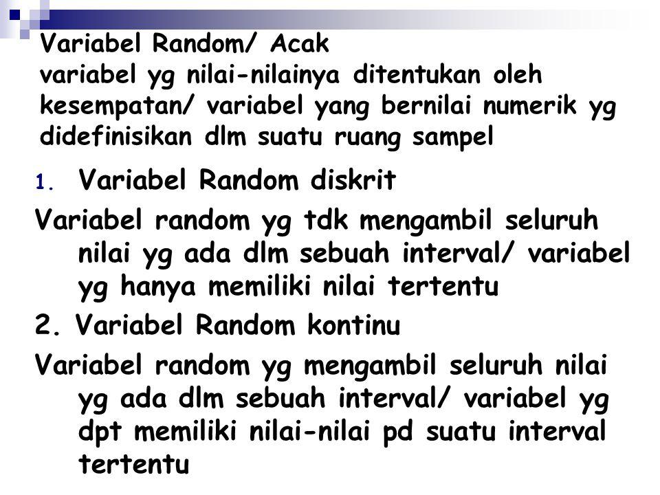 Variabel Random/ Acak variabel yg nilai-nilainya ditentukan oleh kesempatan/ variabel yang bernilai numerik yg didefinisikan dlm suatu ruang sampel 1.