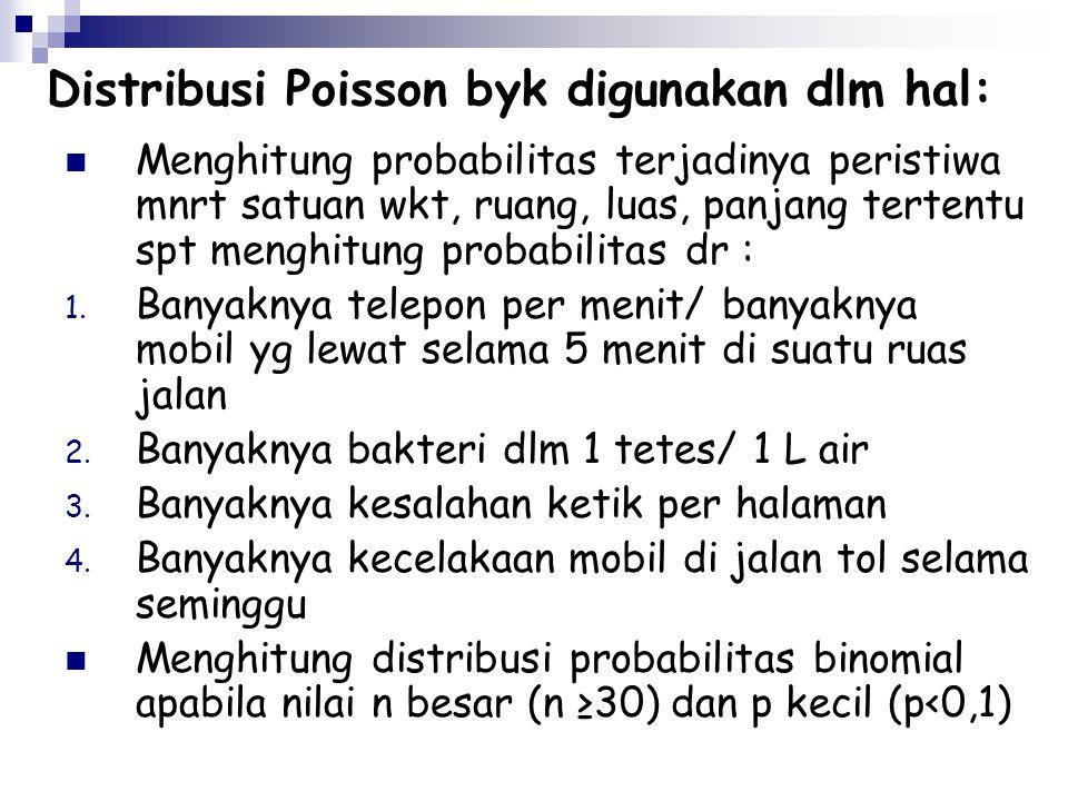 Distribusi Poisson byk digunakan dlm hal: Menghitung probabilitas terjadinya peristiwa mnrt satuan wkt, ruang, luas, panjang tertentu spt menghitung p