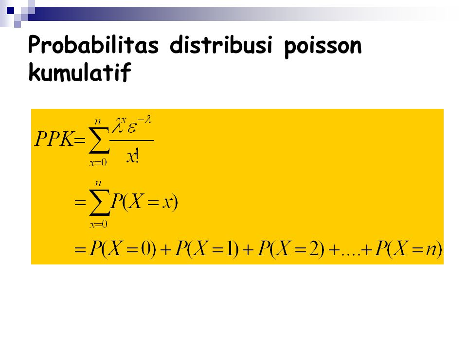 Probabilitas distribusi poisson kumulatif