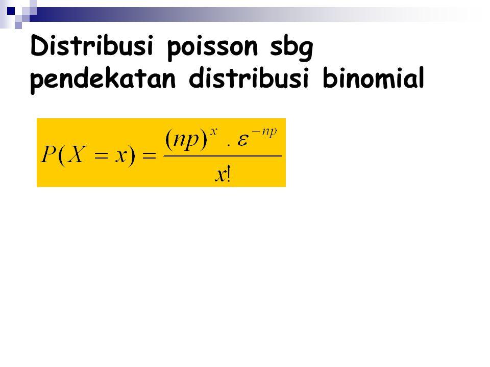 Distribusi poisson sbg pendekatan distribusi binomial