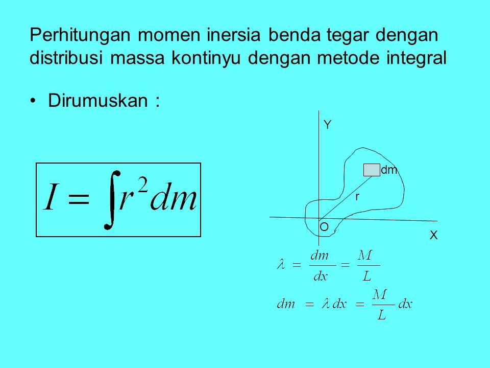Perhitungan momen inersia benda tegar dengan distribusi massa kontinyu dengan metode integral Dirumuskan : dm r O Y X