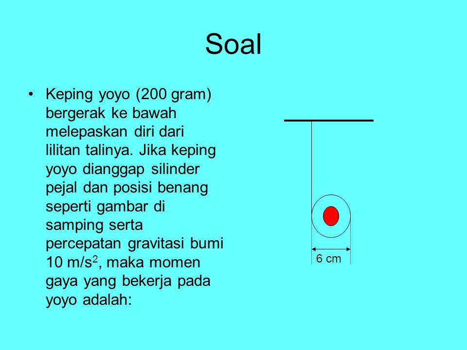 Soal Keping yoyo (200 gram) bergerak ke bawah melepaskan diri dari lilitan talinya. Jika keping yoyo dianggap silinder pejal dan posisi benang seperti