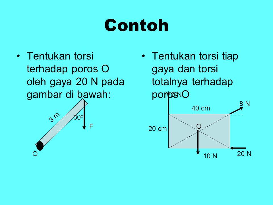 Contoh Tentukan torsi terhadap poros O oleh gaya 20 N pada gambar di bawah: Tentukan torsi tiap gaya dan torsi totalnya terhadap poros O O 3 m 30 o FO