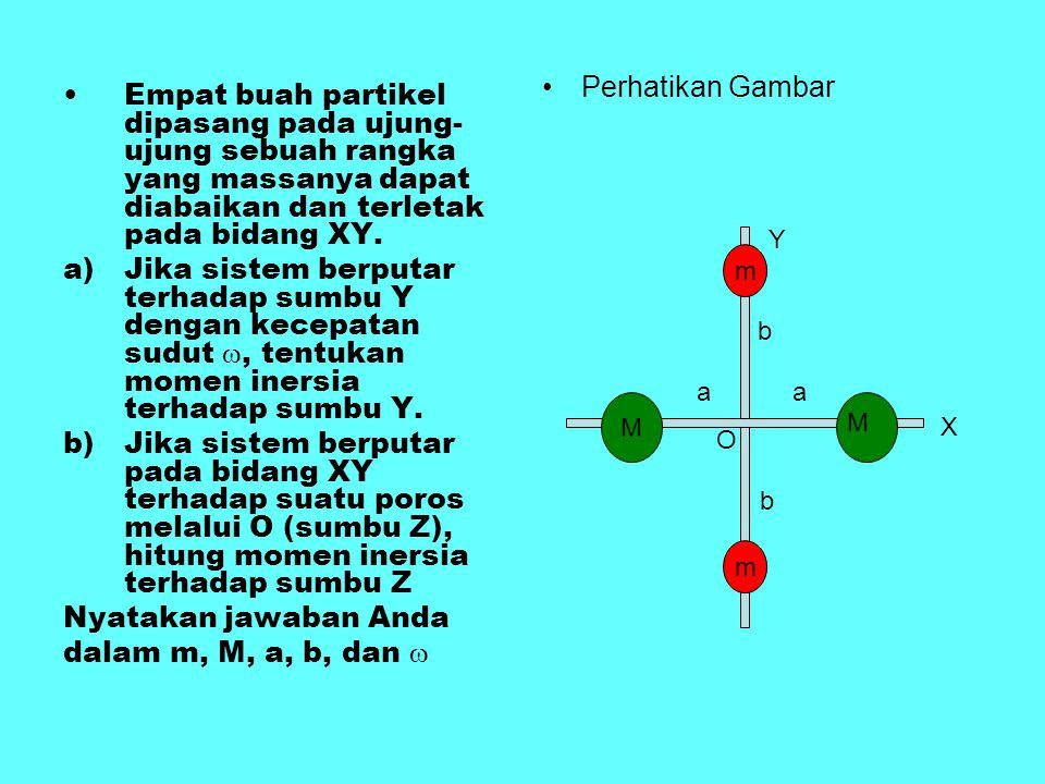 Empat buah partikel dipasang pada ujung- ujung sebuah rangka yang massanya dapat diabaikan dan terletak pada bidang XY. a)Jika sistem berputar terhada