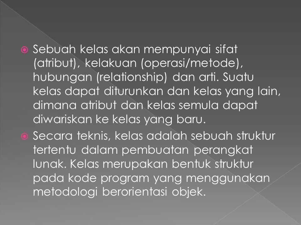  Sebuah kelas akan mempunyai sifat (atribut), kelakuan (operasi/metode), hubungan (relationship) dan arti. Suatu kelas dapat diturunkan dan kelas yan