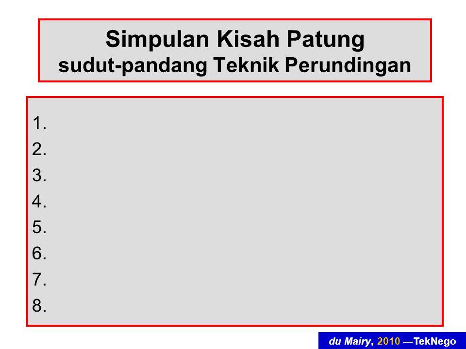 du Mairy, 2010 —TekNego Simpulan Kisah Patung sudut-pandang Teknik Perundingan 1. 2. 3. 4. 5. 6. 7. 8.