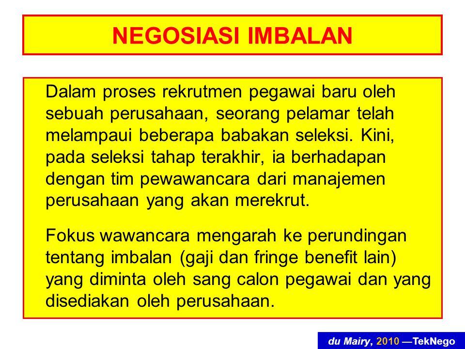 du Mairy, 2010 —TekNego NEGOSIASI IMBALAN Dalam proses rekrutmen pegawai baru oleh sebuah perusahaan, seorang pelamar telah melampaui beberapa babakan seleksi.