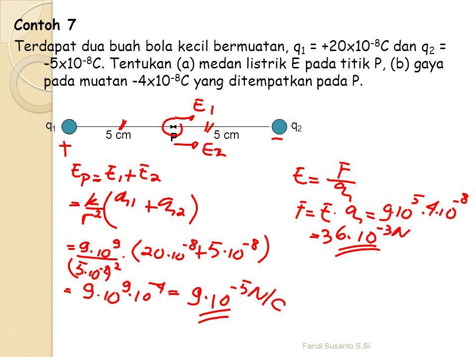 Contoh 7 Terdapat dua buah bola kecil bermuatan, q 1 = +20x10 -8 C dan q 2 = -5x10 -8 C. Tentukan (a) medan listrik E pada titik P, (b) gaya pada muat