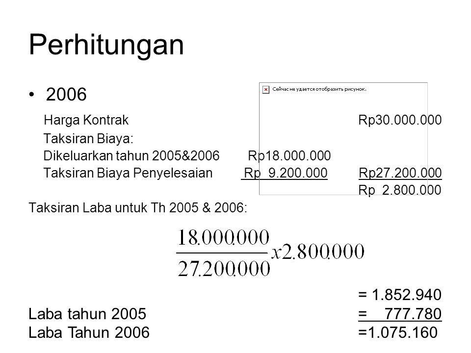 Perhitungan 2006 Harga KontrakRp30.000.000 Taksiran Biaya: Dikeluarkan tahun 2005&2006 Rp18.000.000 Taksiran Biaya Penyelesaian Rp 9.200.000 Rp27.200.000 Rp 2.800.000 Taksiran Laba untuk Th 2005 & 2006: = 1.852.940 Laba tahun 2005= 777.780 Laba Tahun 2006=1.075.160