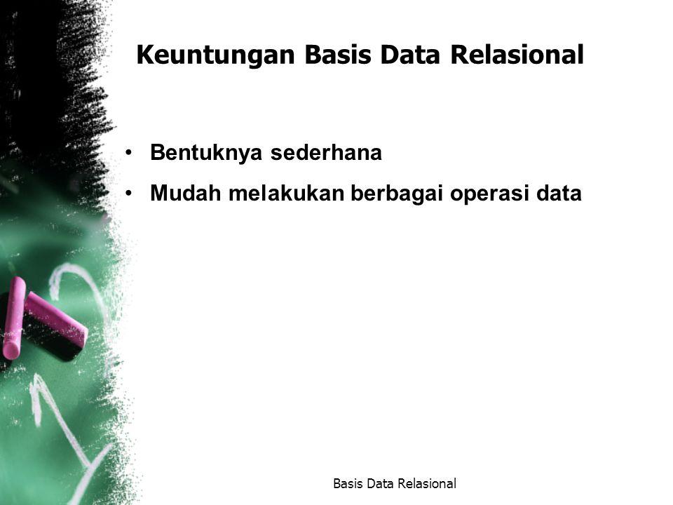 Istilah dalam Basis Data Relasional (1) Relasi: Sebuah tabel yang terdiri dari beberapa kolom dan beberapa baris.