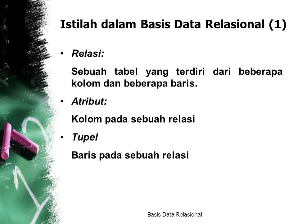 Bahasa Komersial (lanjutan) QUEL Berbasis pada bahasa kalkulus relasional QBE Berbasis pada bahasa kalkulus relasional SQL Berbasis pada bahasa kalkulus relasional dan aljabar relasional Basis Data Relasional