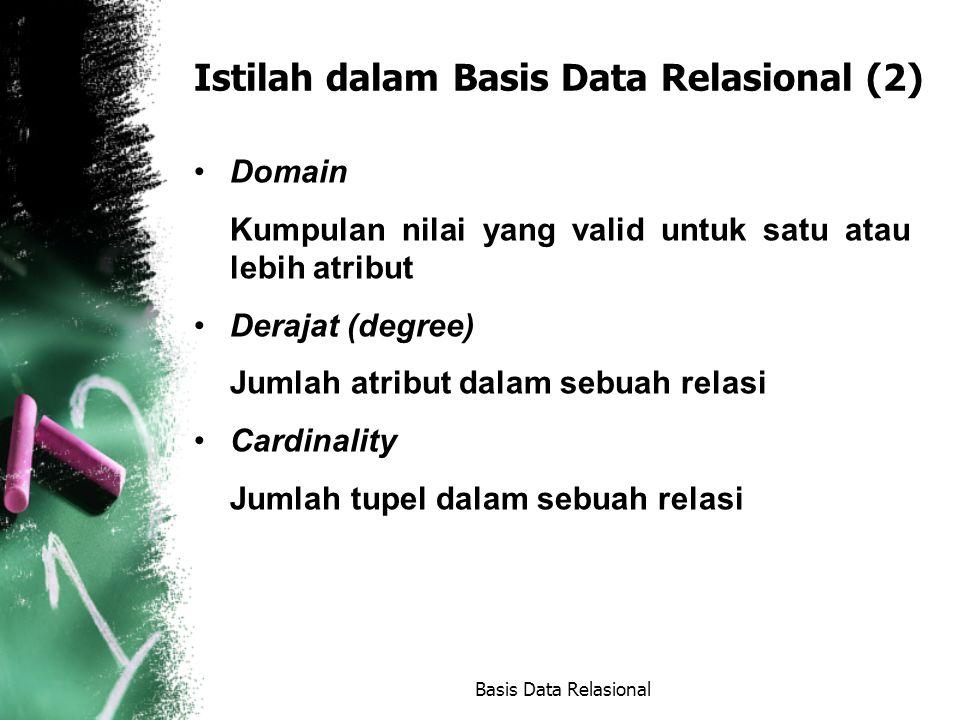 Istilah dalam Basis Data Relasional (2) Domain Kumpulan nilai yang valid untuk satu atau lebih atribut Derajat (degree) Jumlah atribut dalam sebuah relasi Cardinality Jumlah tupel dalam sebuah relasi Basis Data Relasional