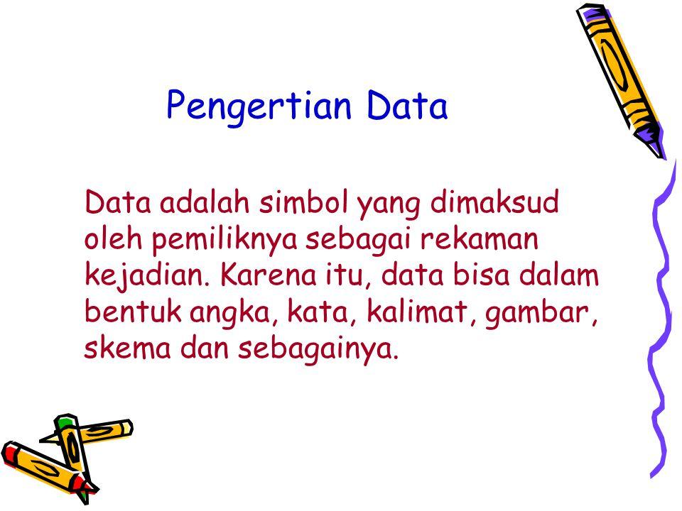 Pengertian Data Data adalah simbol yang dimaksud oleh pemiliknya sebagai rekaman kejadian.