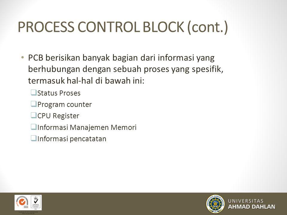 PROCESS CONTROL BLOCK Gambar Process Control Block Setiap proses digambarkan dalam sistem operasi oleh sebuah process control block (PCB) – juga diseb
