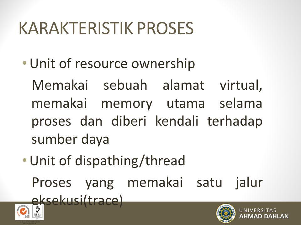 PROCESS CONTROL BLOCK (cont.) PCB berisikan banyak bagian dari informasi yang berhubungan dengan sebuah proses yang spesifik, termasuk hal-hal di bawa