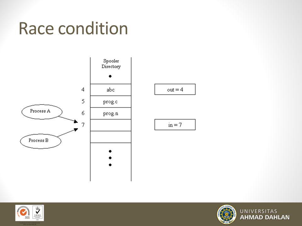 """Sinkronisasi Lanjt. Race Condition: Keadaan dimana lebih dari satu proses meng- update data secara """"concurrent"""" dan hasilnya sangat bergantung dari ur"""