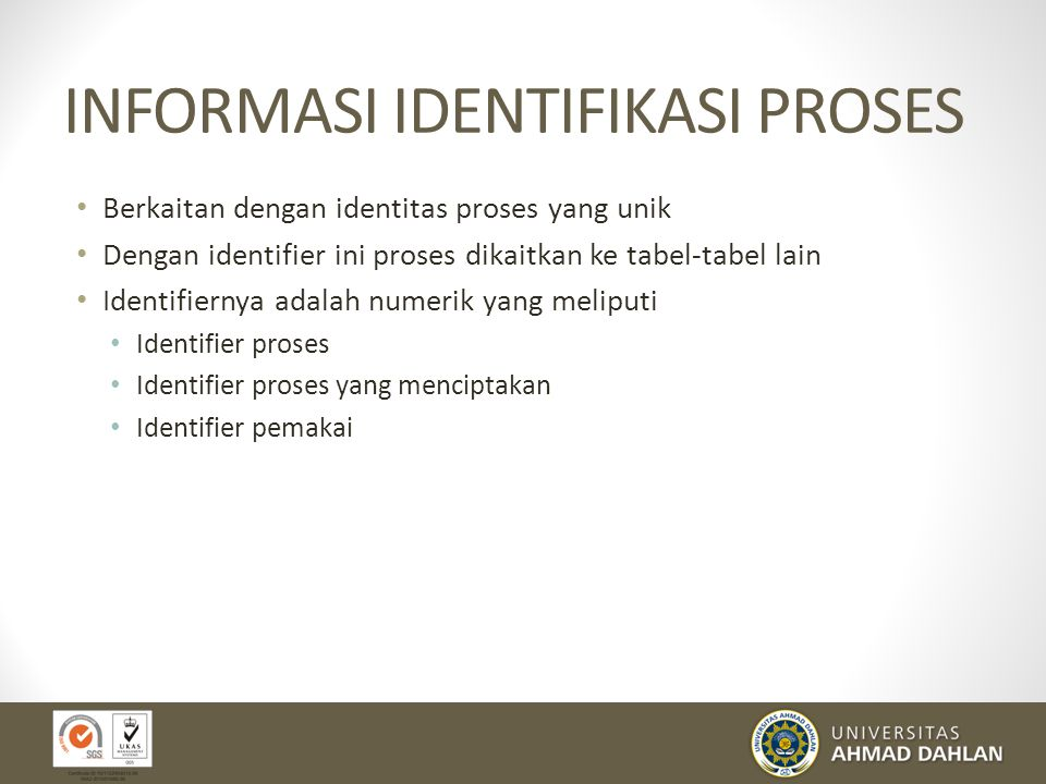 STRUKTUR CITRA/IMAGE PROSES Identifikasi Proses Informasi status proses Informasi kendali proses Stack pemakai Ruang alamat yang khusus diperuntukkan