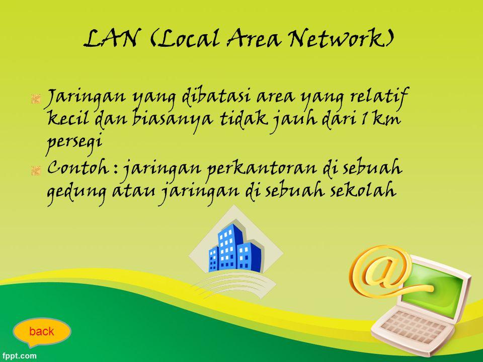 LAN (Local Area Network) Jaringan yang dibatasi area yang relatif kecil dan biasanya tidak jauh dari 1 km persegi Contoh : jaringan perkantoran di sebuah gedung atau jaringan di sebuah sekolah back