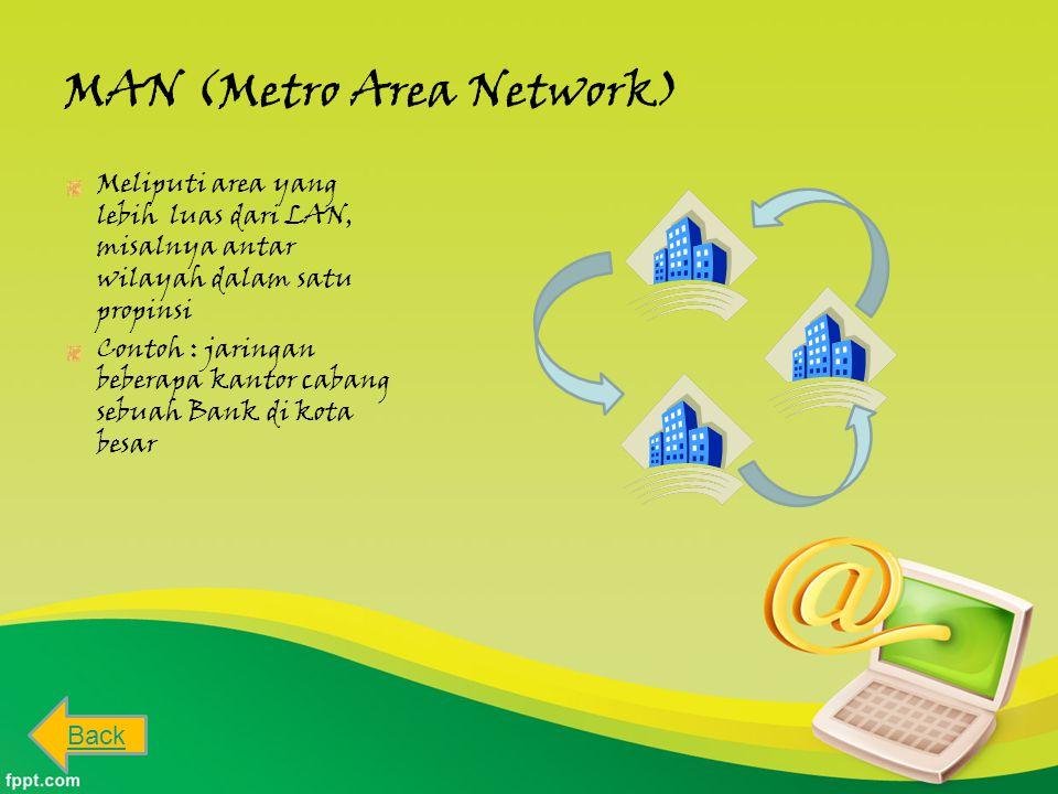 MAN (Metro Area Network) Meliputi area yang lebih luas dari LAN, misalnya antar wilayah dalam satu propinsi Contoh : jaringan beberapa kantor cabang sebuah Bank di kota besar Back