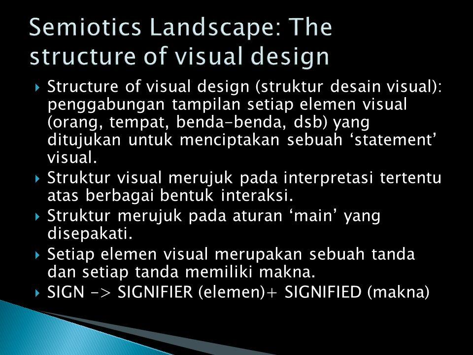  Structure of visual design (struktur desain visual): penggabungan tampilan setiap elemen visual (orang, tempat, benda-benda, dsb) yang ditujukan unt