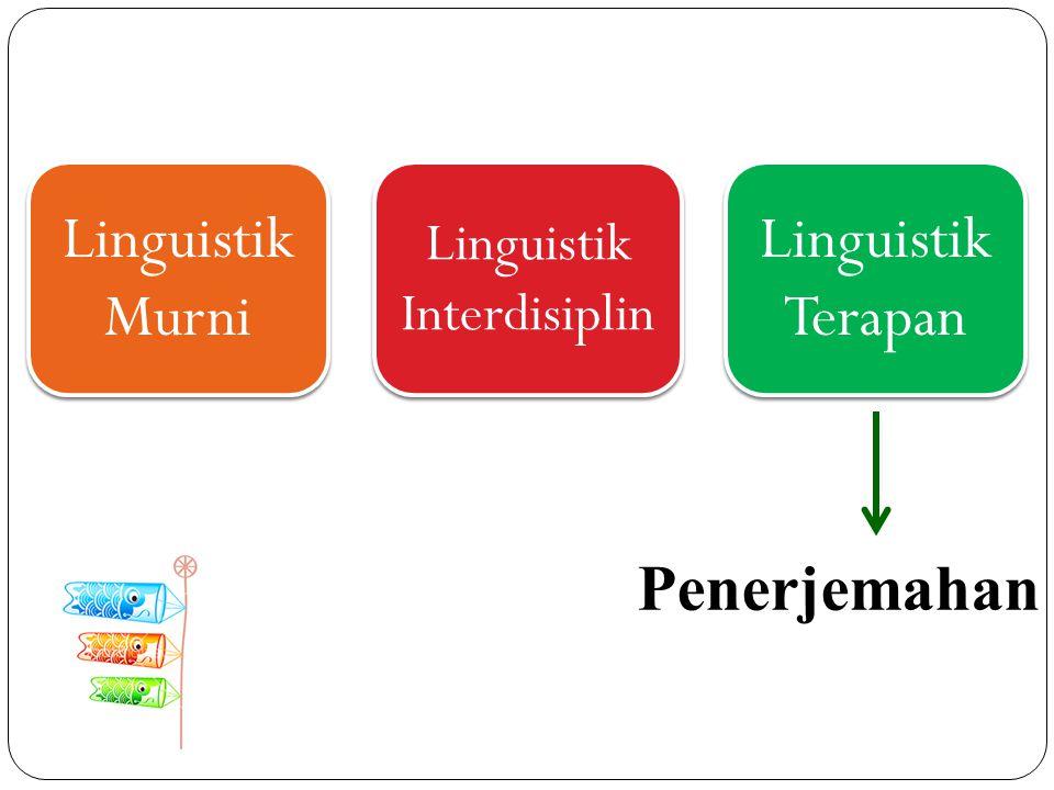 Linguistik Murni Linguistik Interdisiplin Linguistik Terapan Penerjemahan