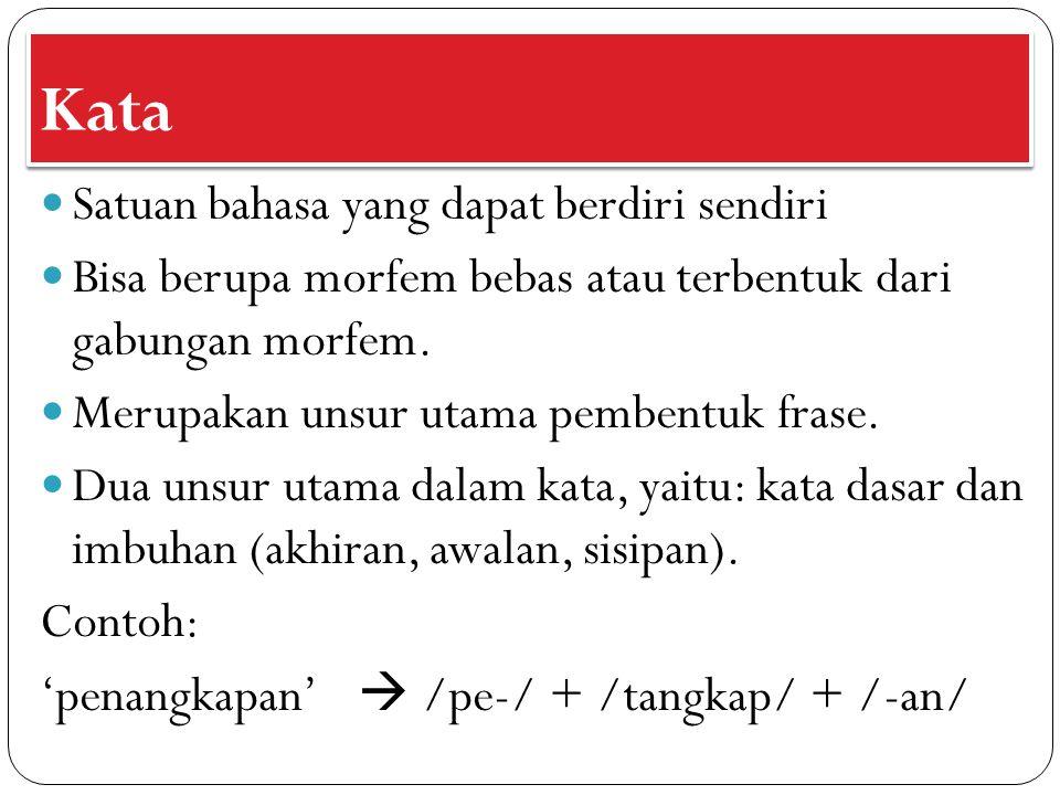 Kata Satuan bahasa yang dapat berdiri sendiri Bisa berupa morfem bebas atau terbentuk dari gabungan morfem. Merupakan unsur utama pembentuk frase. Dua