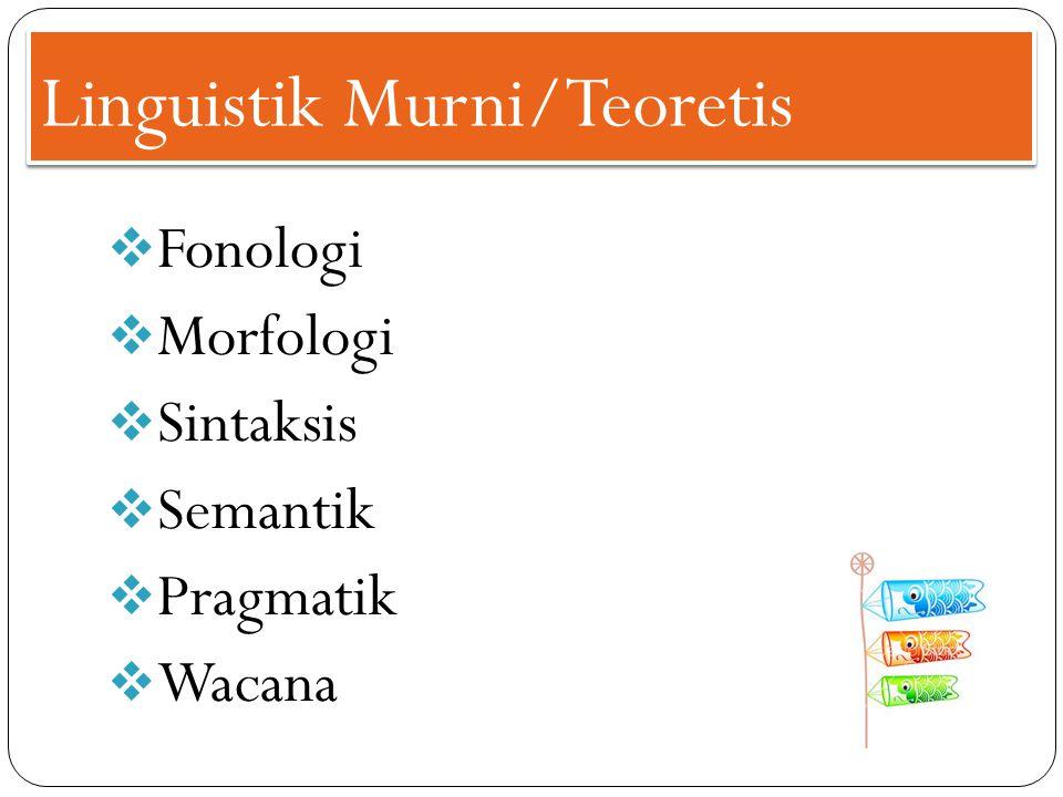 Linguistik Murni/Teoretis  Fonologi  Morfologi  Sintaksis  Semantik  Pragmatik  Wacana