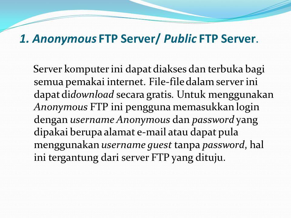 1.Anonymous FTP Server/ Public FTP Server.