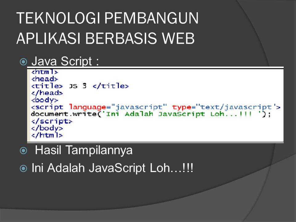 TEKNOLOGI PEMBANGUN APLIKASI BERBASIS WEB  Java Script :  Hasil Tampilannya  Ini Adalah JavaScript Loh…!!!
