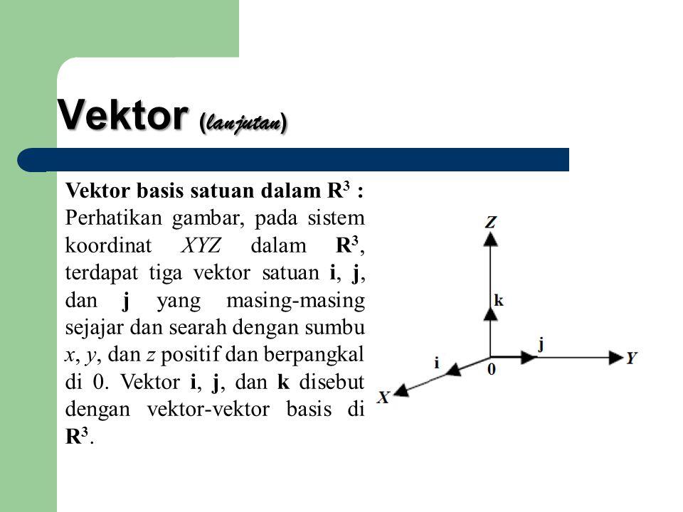 Vektor ( lanjutan ) Vektor basis satuan dalam R 3 : Perhatikan gambar, pada sistem koordinat XYZ dalam R 3, terdapat tiga vektor satuan i, j, dan j yang masing-masing sejajar dan searah dengan sumbu x, y, dan z positif dan berpangkal di 0.