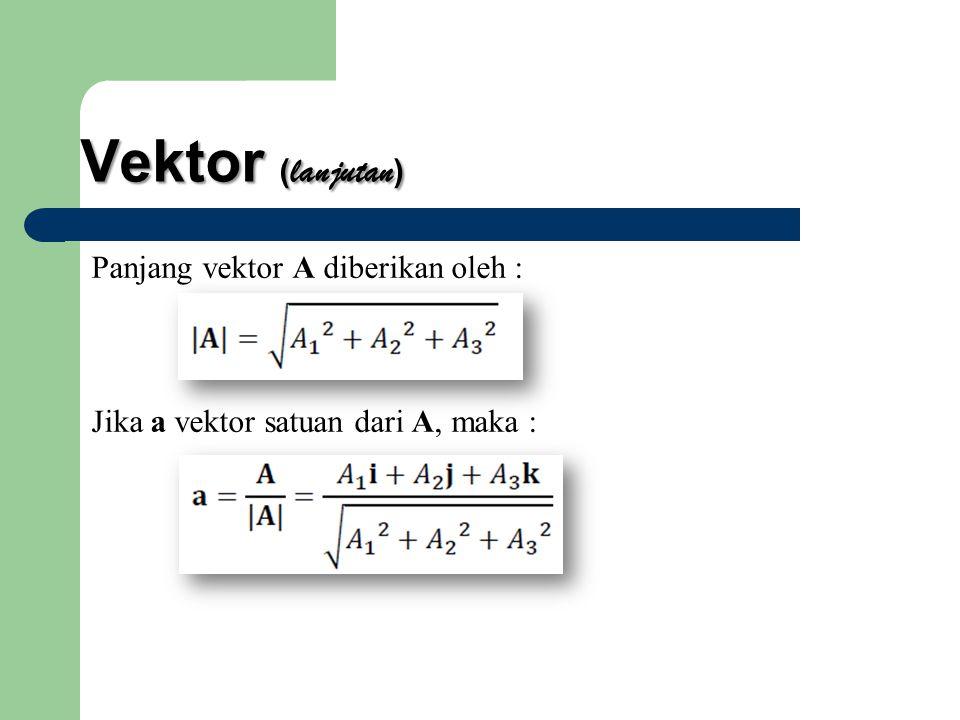 Vektor ( lanjutan ) Panjang vektor A diberikan oleh : Jika a vektor satuan dari A, maka :