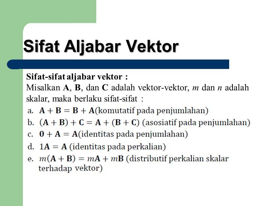 Sifat Aljabar Vektor Sifat-sifat aljabar vektor : Misalkan A, B, dan C adalah vektor-vektor, m dan n adalah skalar, maka berlaku sifat-sifat :