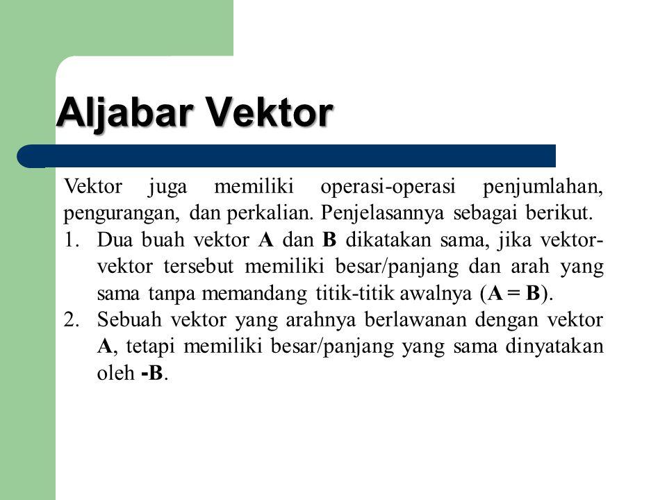 Aljabar Vektor Vektor juga memiliki operasi-operasi penjumlahan, pengurangan, dan perkalian. Penjelasannya sebagai berikut. 1.Dua buah vektor A dan B